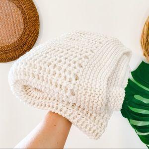 Vintage Cream Crochet Macrame Afghan Throw Blanket